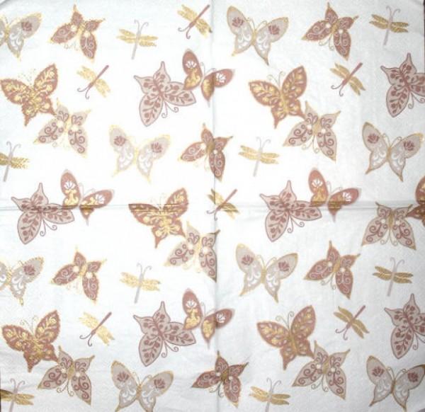 Serviette Schmetterlinge braun