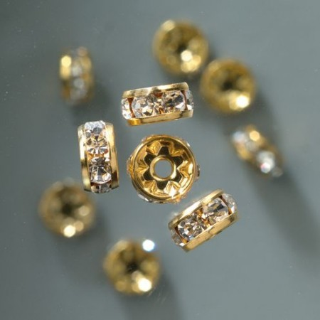 Strass-Rondell 10mm gold-kristall