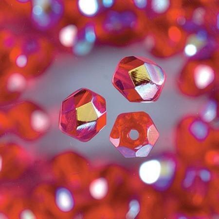 Glasfacettenperlen 4mm irisierend rot