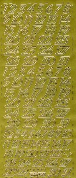 Sticker Kalenderzahlen gold 12mm