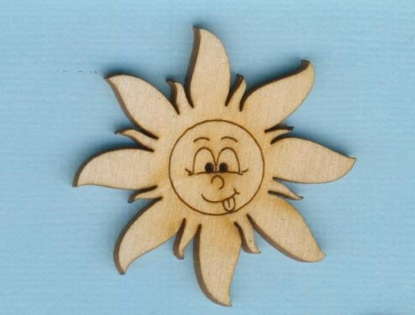 Holz-Deko Knopf Sonne mit Gesicht 40mm
