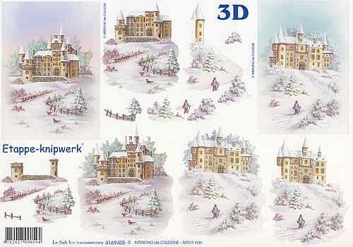 3D Bogen Schloß im Schnee