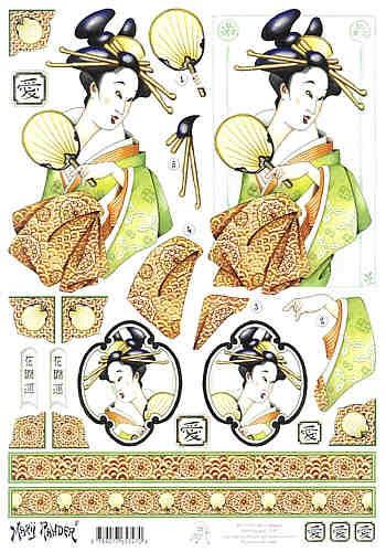 Motivbogen Geisha grün