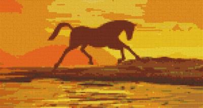 806112 Pixelhobby Set Goldenes Pferd mit 6 Platten