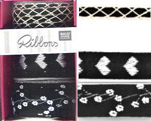 Ribbonset 3x1m schwarz-weiß Grundpreis: € 1,00/1m