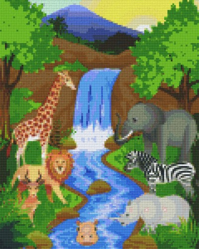 809313_Pixelset-Tiere-am-Wasserfall