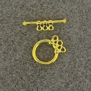 Knebelverschluss 12mm gold dreifach