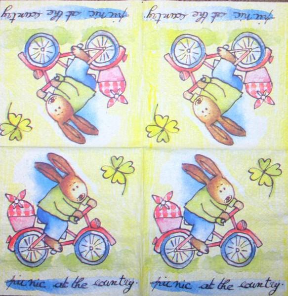 114557_Serviette-Hase-auf-dem-Fahrrad