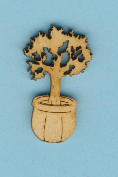 Holz deko baum im blumentopf 5cm hoch bastelshop farbklecks for Deko blumentopf