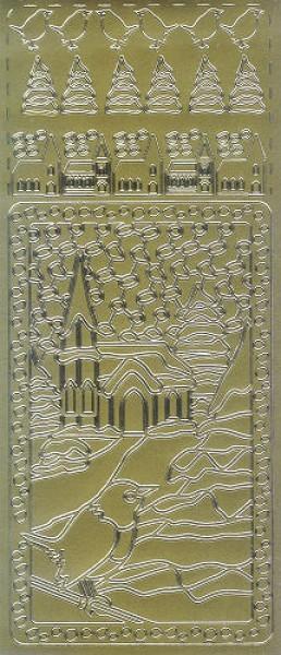 Sticker Winterlandschaft mit Kirche gold