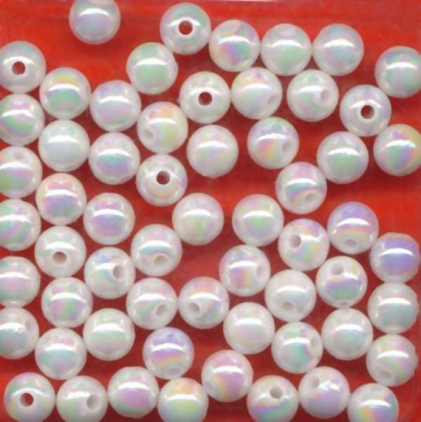 10602 Wachsperlen 6mm weiß irisierend 60 Stück
