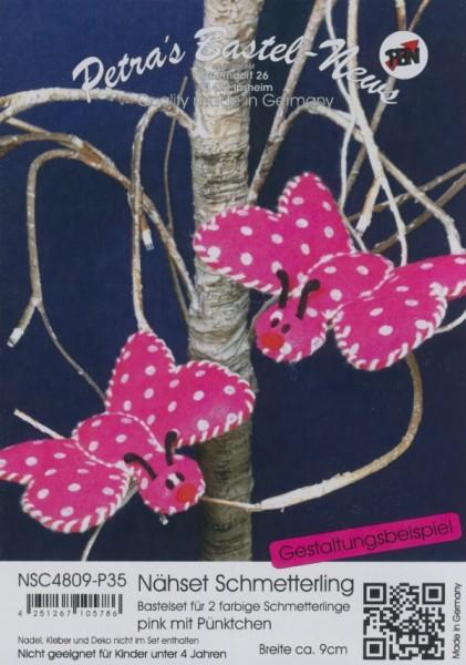 Filz-Nähset Schmetterling pink mit Pünktchen