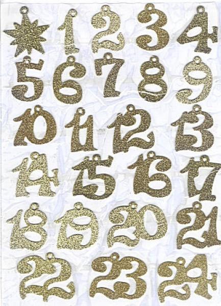 Sticker Adventszahlen glitter gold