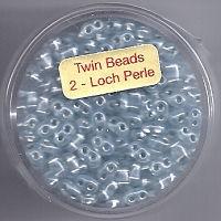 Twin-Beads aqua silbereinzug 12g