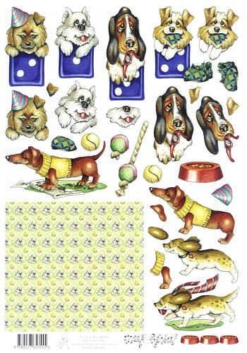Motivbogen Spielende Hunde