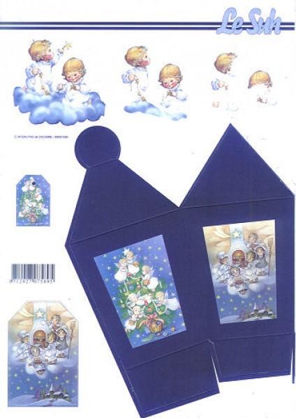 3D-Laternenbox Weihnachtsengel blau
