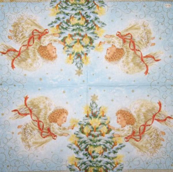 Serviette Weihnachtsengel 25x25cm
