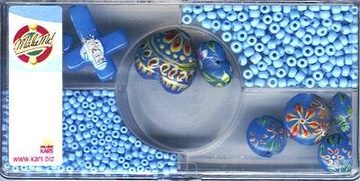 Glasperlen handbemalt blau