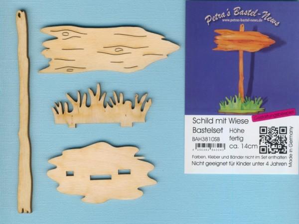 Holz-Deko Schild mit Wiese Bastelset