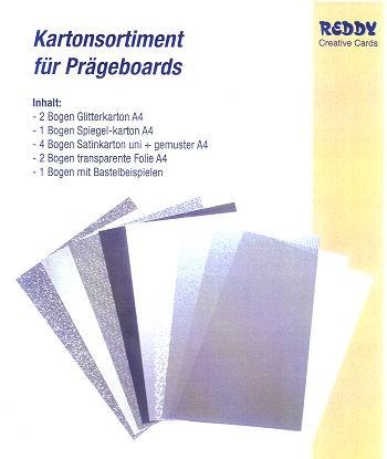 Prägeboard Kartonsortiment silber-weiß