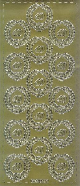 Sticker 40 mit Kranz gold