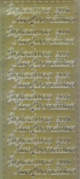 Sticker Einladung zur Konfirmation gold