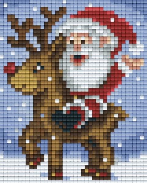 pixelhobby set weihnachtsmann mit rentier  bastelshop