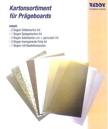 Prägeboard Kartonsortiment gold-creme-weiß