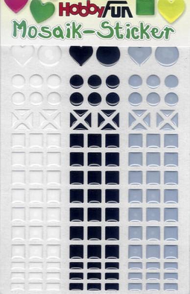 Mosaik-Sticker weiß-schwarz-grau