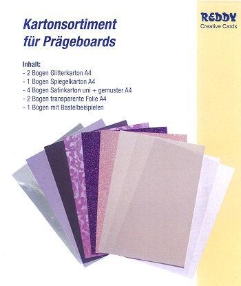 Prägeboard Kartonsortiment flieder-lila-rose