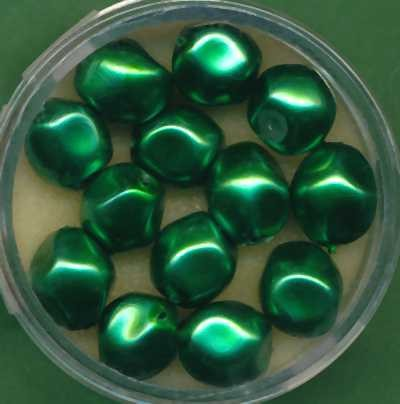Glaswachsperlen 9mm dunkelgrün