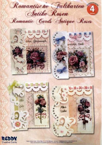Romantische Faltkarten Antike Rosen