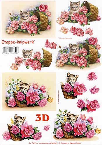 Motivbogen Katze im Blumenkorb