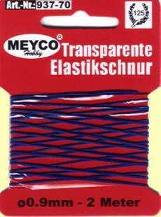 Elastikschnur blau transp. 0,9mmx2m
