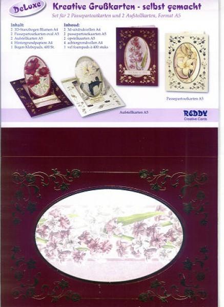 Set Aufstell- und Passepartoutkarten 1 Blumen