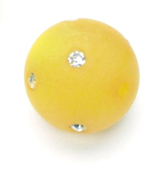 Polarisperle 14mm mit Swarovski-Strass gelb