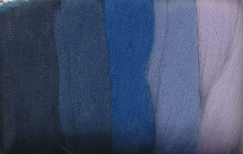 Merinowolle blau töne 50g
