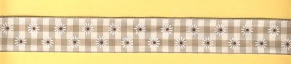 1842540 Karoband mit Blümchen 25mm natur-weiß lfd Meter