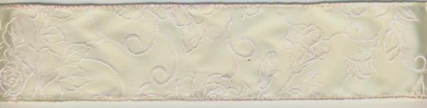 15815302 Dekoband Ornamente Rosen 50mm creme irisierend lfd Meter
