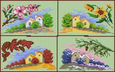 808009 Pixelhobby Set Vier Jahreszeiten mit 8 Platten