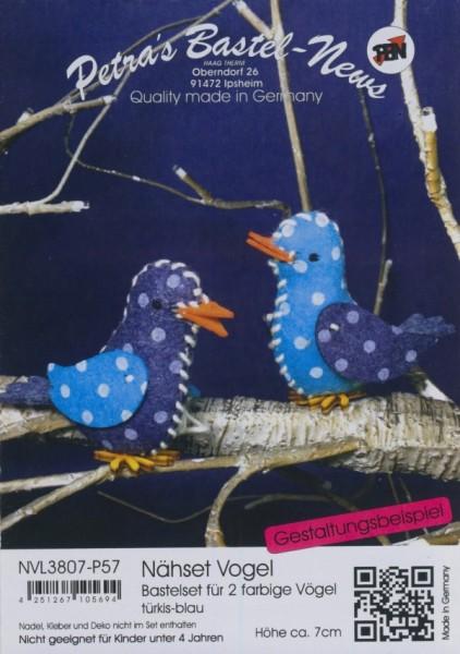 Filz-Nähset Vogel türkis-blau