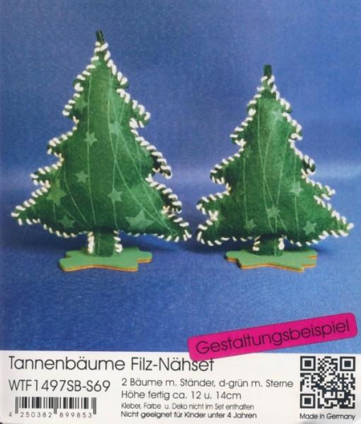 Filz-Nähset Tannenbäume dunkelgrün mit Sterne