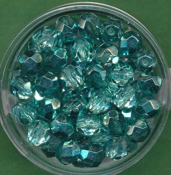 Glasschliffperlen 6mm halb bedampft blaugrün