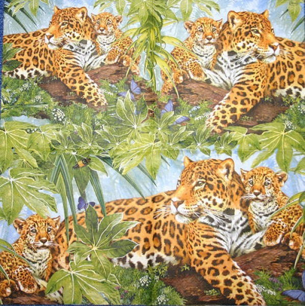 Serviette Leopardenfamilie bunt