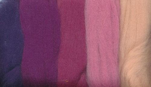 Merinowolle rosa-lila töne 50g