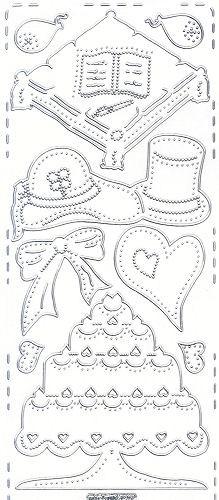 Sticker Hochzeit 6 silber/transparent