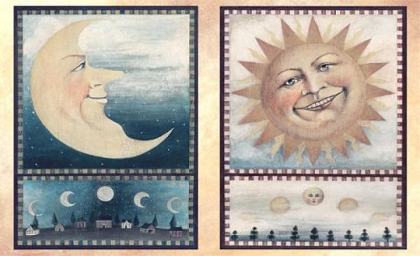 Decoupagebogen Sonne und Mond
