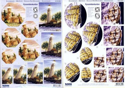 3D-Stanzbogen für Pyramidenkarten, Segelboote + Leuchttürme