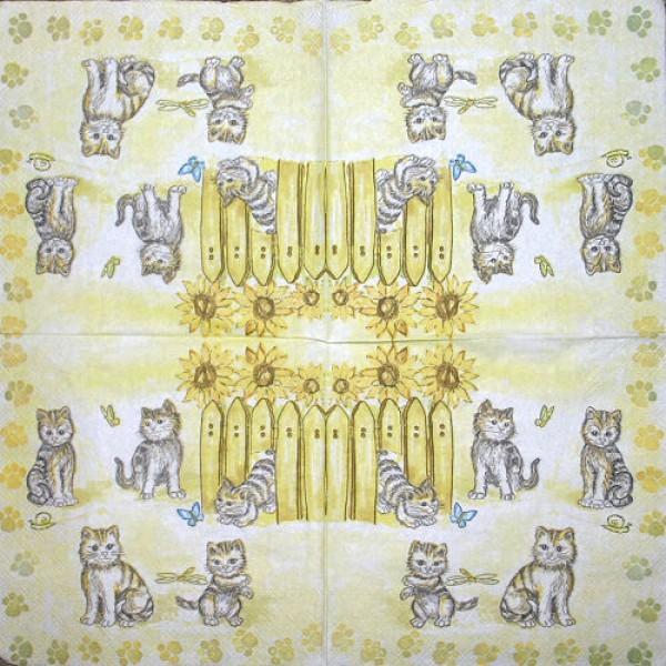 Serviette Katzen gelb
