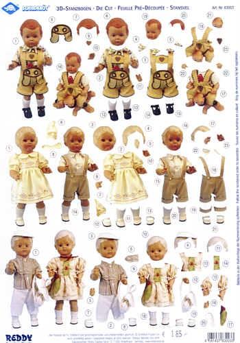 3D-Stanzbogen Schildkröt Puppen 3